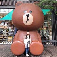 Outdoor Cartoon Frp Sculpture Brown Bear Shopping Mall Decoration Garden Net Red Milk Tea Shop Landscape
