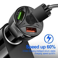 3 USB Car Charger Splitter Adapter for Mobile Phone DVR GPS MP3 Charg 12V-24V Charger Auto QC 3.0 Quick Charge TSLM1