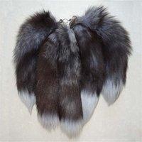 Fatpig Women Bag Charm Long Fox Fur Tail Keychain Fairy Handbag Drink Hanger Accessories Hairy Pockets