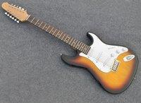 Factory Outlet-12 Строки Табак Солнцезащитная Электрическая гитара с пикапами SSS, Fretboard, высокая стоимость