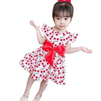 Sommer Strawberry Gedruckt Kinder Mädchen Weste Kleid Kleine fliegende Hülse Kleider Mode Nette Bowknot Kinder Strand Rock Kleidung G4IVFI3