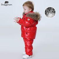 Orgelemom Rusia Invierno Ropa para niños Conjuntos de niñas Ropa de Niñera Víspera Año Nuevo Parka Chaquetas Kids Chaquetas Abrigo Down Snowsuit