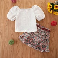 Baby Clothing Sets Girl Suit Outfits Kids Clothes Children Dress Summer Cotton Tops Blouses Flower Belts Skirts 2Pcs B5633