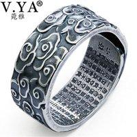 Cluster Ringe V.Ya Real 990 Sterling Silber Ring für Frauen Männer Retro Wolke Buddhismus Prajnaparamita Herz Sutra Schmuck