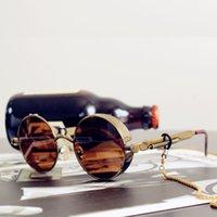 Óculos de sol clássicos gótico steampunk luxo marca designer de alta qualidade homens e mulheres retrô redondo metal frame uv400