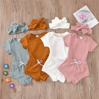 INS Baby Boutique Clothing Sets Suits Summer Short Sleeve Knitted Cotton Outfits Rompers Shorts Headbands 3Pieces Children Clothes 2113 Q2
