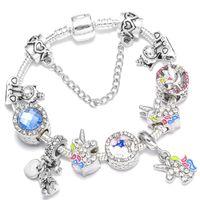 Europe et Amérique Ing Pandora Charm Bracelet DIY Couleur Crystal Inlaid Crystal Zircon Perles Perles Perles Bijoux