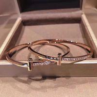 Bracelets Bracelet T Famille Version étroite T1 Semi Diamant Sterling Silver Series Anneau plaqué 18K Gold Lumière Luxe Simple Rose