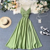 Ftlzz New Summer Women Sexy V-neck High Taille A-line Party Tank Sunflower Clock Elegant Bandage Boog Long Dress Multicolor