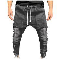 Men's Pants Cotton Harem Elastic Big Pocket Mid-waist Tethered Jeans 2021 Loose Casual Trousers Men