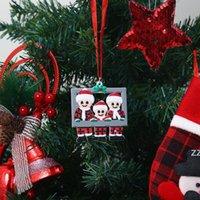 Decorações de Natal Pvc xc xadrez santa claus pingente diy nome criativo família família moldura xmas árvore ornamento feliz novo hwd10500