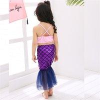 Factoryo75Bprincess Girls Tail-Kinderbaden-Anzug 3-teiliges Baby-Split-Bikini-Meerjungfrau-Kostüm