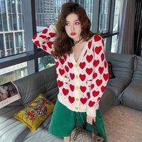Mode Marque Designer Femmes Love Coeur Pattern Cardigan Cardigan Pull Coffret coréen Lettres Causers Broderie Imprimé Tricoté à manches longues Petites manteaux de vent doux