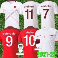 2021 2022 Suíça Futebol Jersey National Team Home 20 21 22 Seferovic Freuler Shaqiri Lang Embolo Behrami Camisa de Futebol Vermelho Suíça
