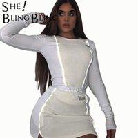 Moda Yansıtıcı Şerit Patchwork Kadınlar İki Parçalı Kıyafetler Uzun Kollu Bayanlar Mini Etek Tops Set Eşofman 210523