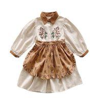 Girl's Dresses Korean Children' Embroidered Dress Apron Two-piece Flower Princess For Girls 2021 Autumn Children's Clothing