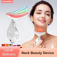 Amazefan 3 ألوان LED العلاج الفوتون beautycare الرقبة إزالة التجاعيد أداة التدفئة الوجه مدلك