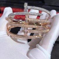 Kajia S925 Plata Pulsera de hierro con diamante completo NET Clavo rojo para el regalo de la novia