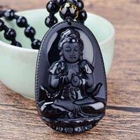 Nachahmung Obsidian Original Life Buddha Acht Gönner Kristall Halskette Männer und Frauen Schmuck Anhänger