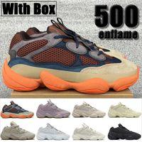 Kutusu Enflame 500 Kadın Erkek Yansıtıcı Koşu Erkek Sneakers Ayakkabı Yumuşak Görüş Taş Kemik Beyaz Yardımcı Programı Kara Ay Sarı Allık Tuzlu Eğitmenler