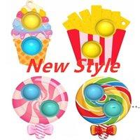 Lollipop Ice Cream Chips FoodKey Ring Sensory Push Bubble Finger Puzzle Toys Rainbow Keychain Novel Bag Charms Kids Ear FWA8629