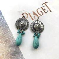 Gold Silver Wedding Big Crystal Earrings Dangle & Chandelier for Brides Women Bride turquoise Stones Jewelry