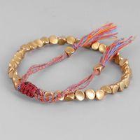 Charm Bracelets Handmade Tibetan Copper Bead Bracelet Buddhist Braided Cotton Luck Rope For Protection Good Success Amulet