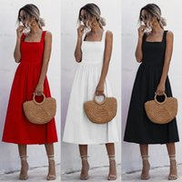 Casual Dresses Women Long Dress Summer Sexy Backless White Black Ruched Slip Midi Sundresses 2021 Ladies Strap Clothes For Y2k Red