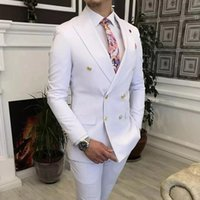 Men's Suits & Blazers Double Breasted White Men Suit Gold Buttons Slim Fit 2 Piece Wedding Groom Tuxedo Fashion Prom Business Costume Jacket