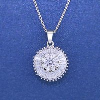 Designers Round diamond pigeon egg super sparkle zircon necklace simple and exquisite clavicle short chain pendant nkn41