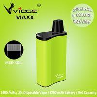 Vidge Maxx 2% Salt Disposable E Cigarettes Box Vape Mesh Coil Design 1200mAh Battery 9.0ml Capacity 8 Colors for Option Authentic With Certification