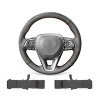 DIY Hand Stitched Soft Non-slip Black Leather Steering Wheel Cover For Toyota Camry 2018-2020   Corolla 2019-2020 RAV4