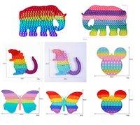 تململ اللعب الحسية الحجم كبير المعكرون rainbow الفيل البومة فراشة دفع فقاعة مكافحة الإجهاد التعليمية الأطفال الكبار الضغط لعبة