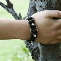 Charm Bracelets Fashion Jewelry Gothic Metal Cone Stud Rivet Leather Wristband Men Punk Style Bangle Spike Jerlwry Agift