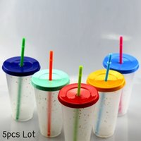 Tumblers Glitter 5pcs Lot 24oz Plastic Cups with Lid Straw 710ml Reusable PP Coffee Mug Rainbow Color Changing Water Bottle Cold Drink Magic Tumblers{category}