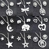 Earrings & Necklace Stainless Steel Fashion Pendant Stud Suit Collarbone Chain In Various Styles Sets For Women Jewelry