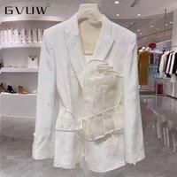 Women's Suits & Blazers GVUW French Jacquard Pleated Jacket Autumn Celebrities Elegant Lace Up Versatile Suit Women Chic Woman Wholesale Clo