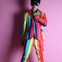 Herrenanzüge Blazer Blazer Männer Anzug Set mit Hosen Mensrainbow Vision Kostüm Sänger Stern Stil Tanz Bühne Kleidung Streifen Formelles Kleid B