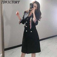 TDvictory 고품질 한국 가을 겨울 더블 브레스트 슬림 블레이저 코트 스트라이프 여성 긴 소매 outwear 210602
