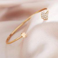 Дубейдуо Дамы открытый браслет творческий ретро простое сердце в форме сердца любовь золото серебряный цвет для женщин ювелирных изделий подарок браслет