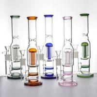 Glas Wasserleitungen 10-Zoll-Hohe-Huka-Bongs 6-Bäume-Boneycomb Percolat Bong 14mm Frau mit Schüssel DAB-Rigs