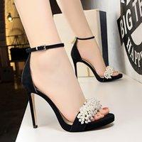 Dress Shoes Bigtree sapatos femininos de salto fino, calcanhar super alto, à prova d'água, camurça mesa pérola, diamante, para festa 8Y24