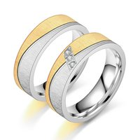 Gold Silver Color Cubic Zirconia Couple Rings Bands Matte 6mm Stainless Steel Engagement Wedding Women Mens Ring Vintage Jewelry