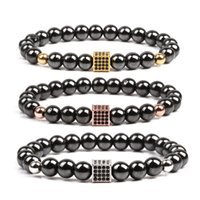 Black Zircon caixa ímã ímã grânulos pulseira pulseira pulseira pulseira pulseira punho mulheres homens moda jóias