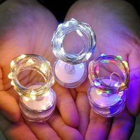 Nachtverlichting 10 stks onderwaterlamp 2m 20 LED's Duiken LED-knop batterijhouder koperdraad string licht voor kerstkaars