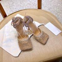 Women dress shoes High Heels sparkle stretch sandal Leather mesh sandals ankle strap high-heel designer heel Square toe pump