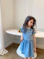 2021 baby filles robes été enfants fille col collier bleu robe été mode coton vêtements vêtements pour enfants