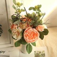 الزهور الزخرفية أكاليل الحمر الاصطناعي الفاوانيا الزفاف باقة الأخضر يترك diy الحرير زهرة للمنزل الزفاف الديكور