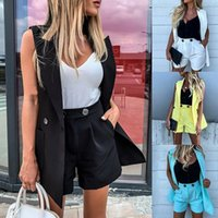 Sleeveless Blazers With Two-Piece Suit Waistcoat And Shorts Set Solid Color Vest Coat Single Button Yellow Women's Tracksuits Women