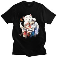Anime Gintama Tshirt Erkekler Kısa Kollu Grafik T Gömlek Trendy Gintoki Sakata Kagura Elizabeth T-shirt Pamuk Tees